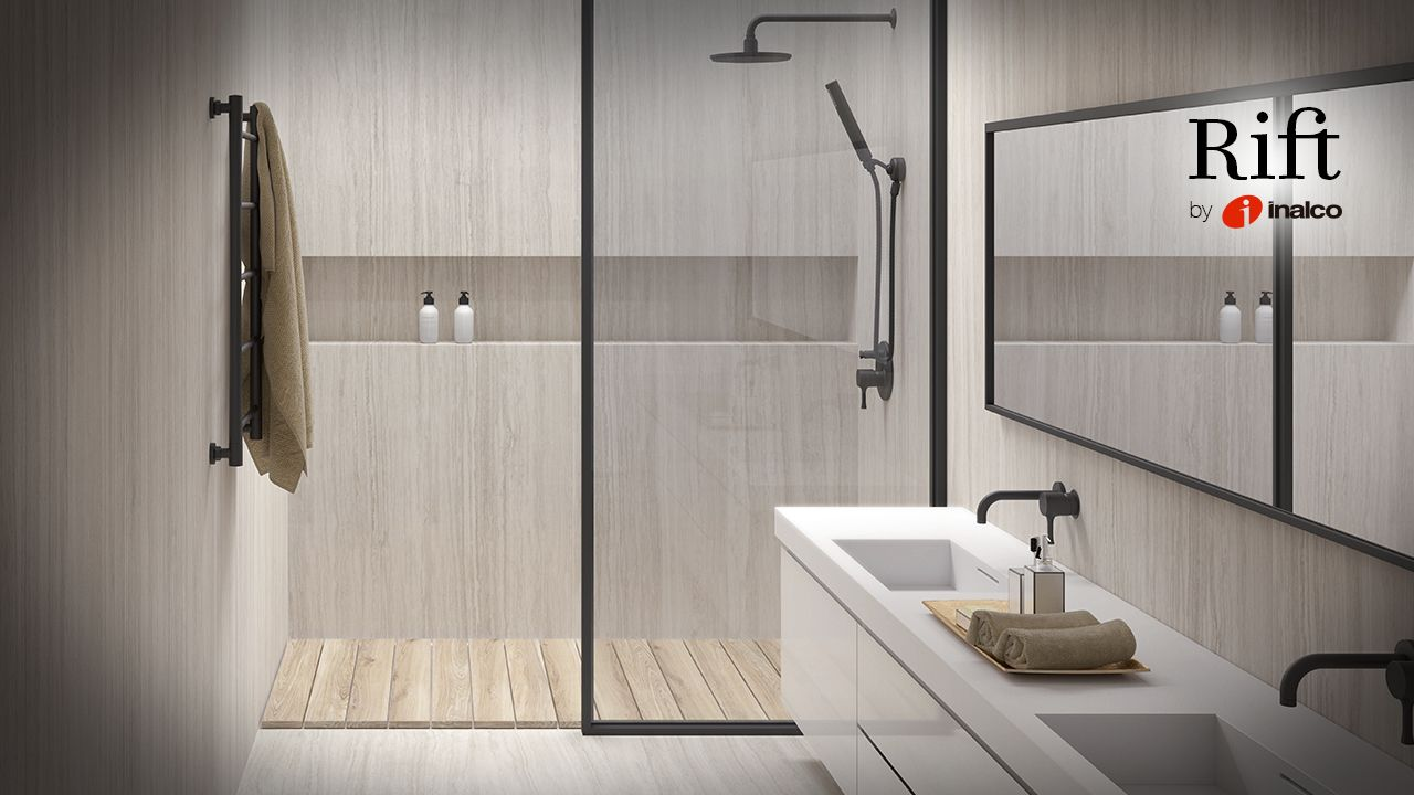 New Rift Series by Inalco, updating travertine´s characteristics veins and structure. 150x150 cm and 100x250 cm Slimmker porcelain tile.