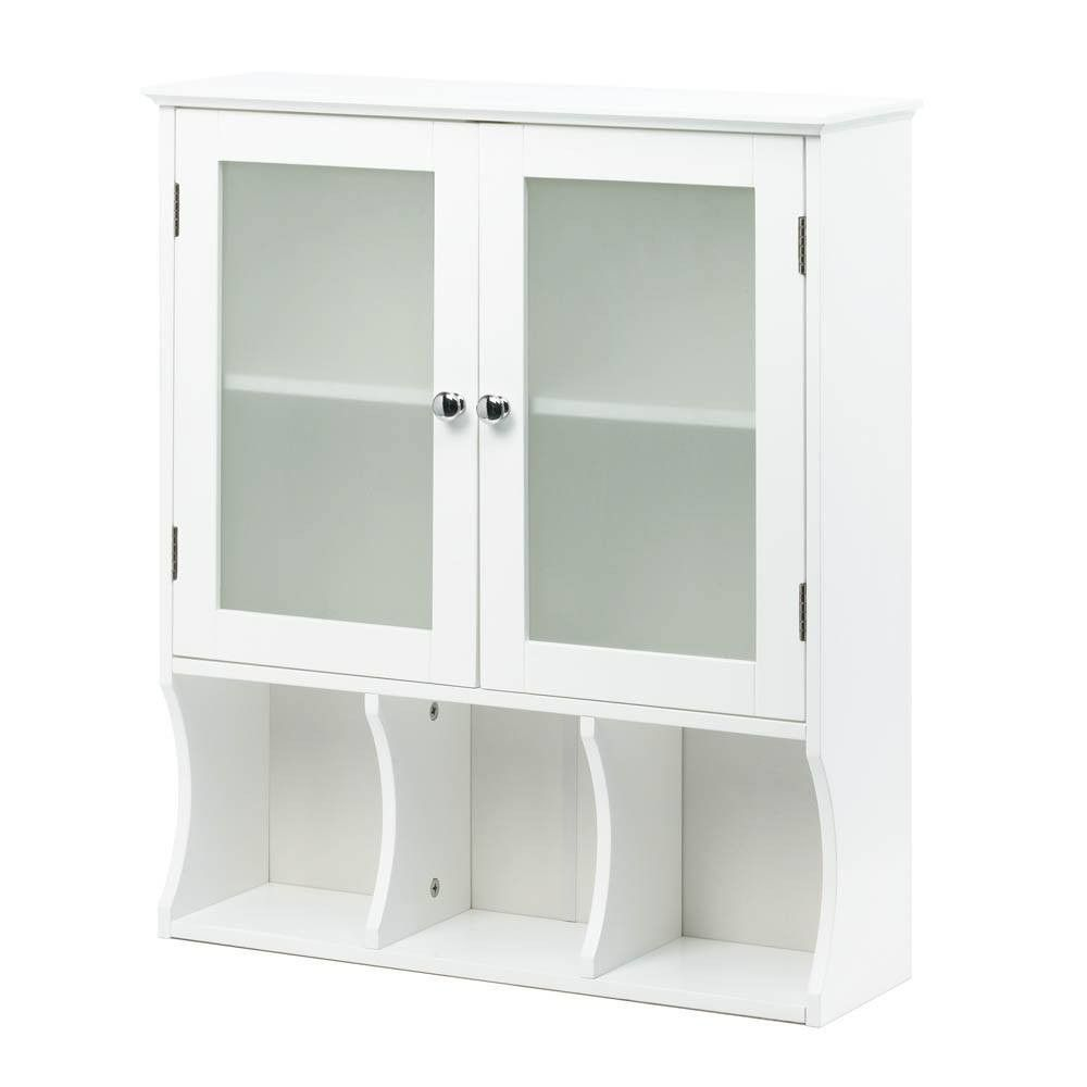 Simply White Bathroom Wall Cabinet With Frosted Gl Doors