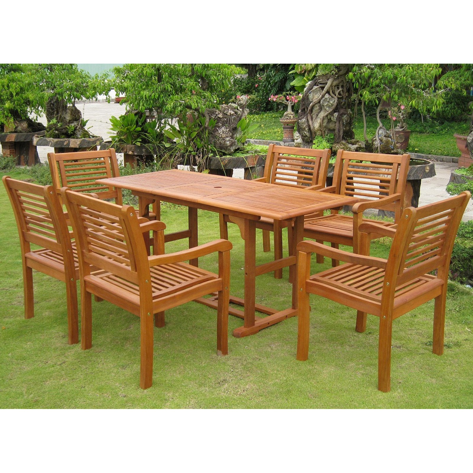 Outdoor International Caravan Royal Tahiti Cervera Balau Wood 7 Piece Patio Dining Set