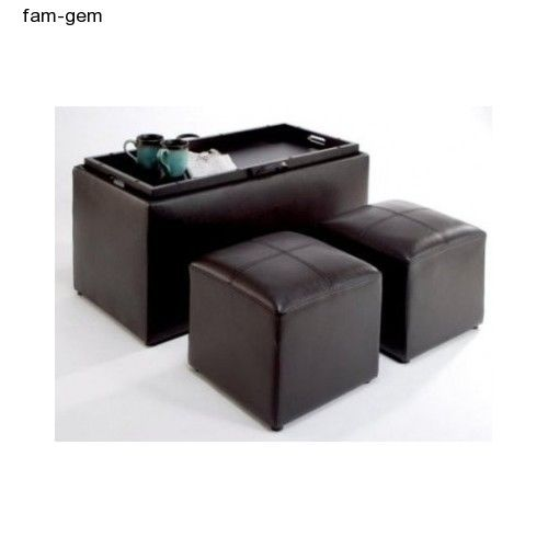 Storage Table Coffee with 2 Side Ottomans Bench Faux Leather Dark Espresso NEW #ConvenienceConcepts