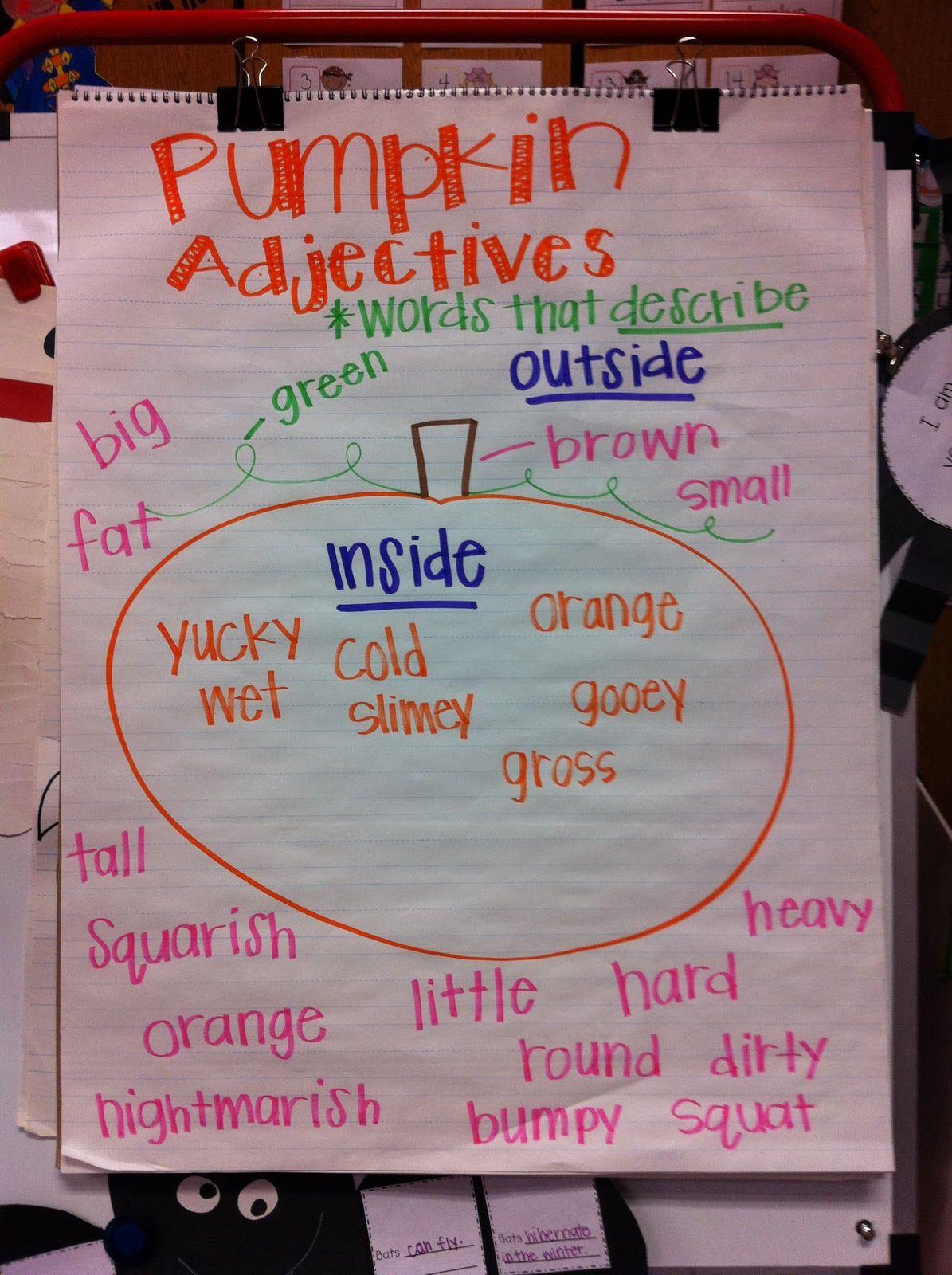 Pumpkin Adjective Chart