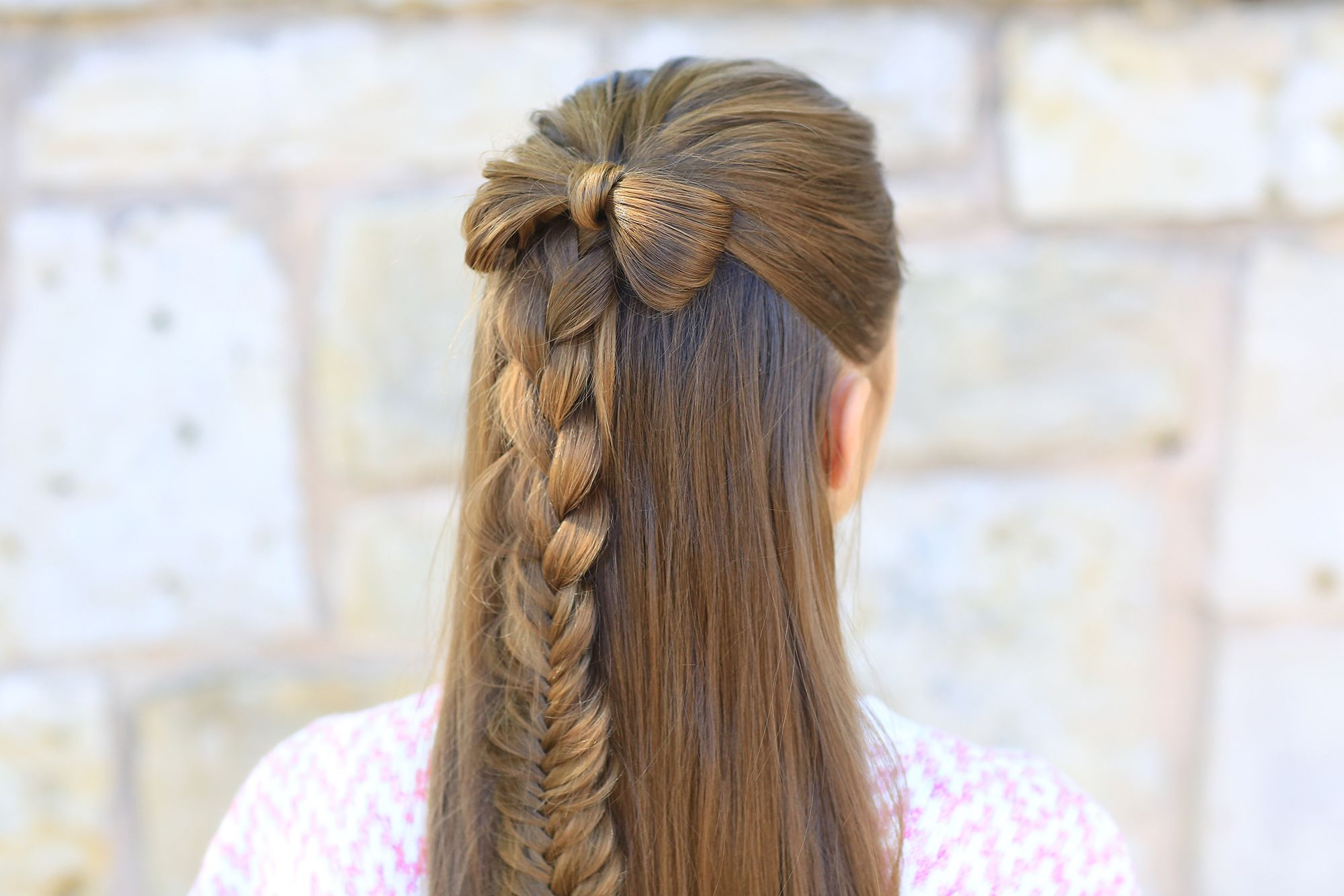 Halfup bow combo cute girls hairstyles coiffure pinterest