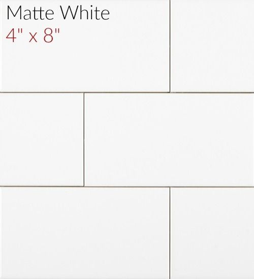 Tile For Shower Metro Subway 4 X 8 White Matte Clearance