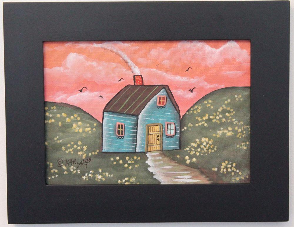 Teal Cabin ORIG Framed Canvas Panel PAINTING Folk Art Prim 5 x 7 ...