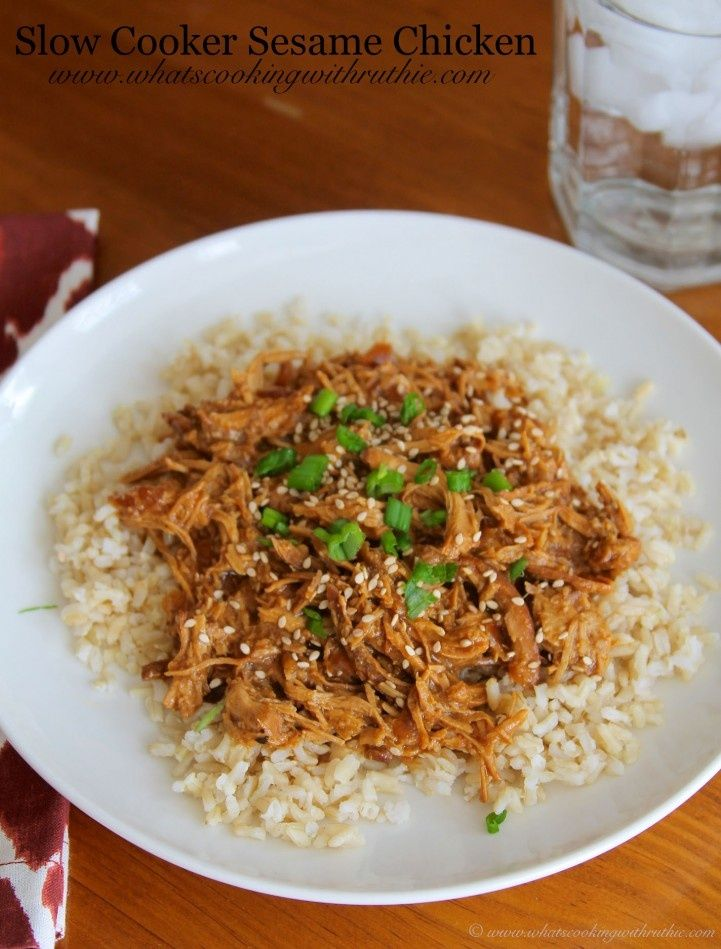 Slow Cooker Sesame Chicken by www.whatscookingw... #chicken #recipes #crockpot