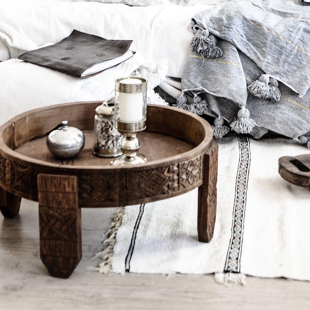 Moroccan handmade Berber roundtable Handcarved and gives that