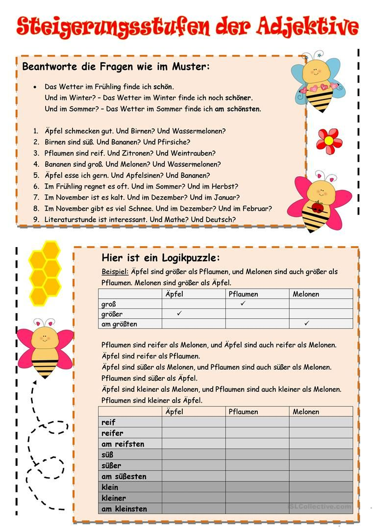 Steigerungsstufen der Adjektive | Teaching German | Pinterest | German