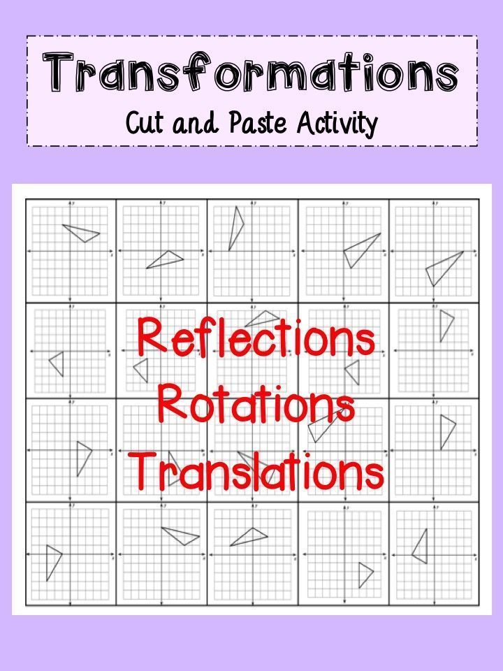 Transformations Activity Reflections Rotations And Translations Teaching Geometry Geometry Lessons Algebra Worksheets