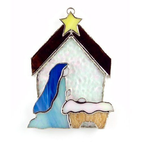 Holy Family With Angel Hair Glass Ornament: Stained Glass Religious