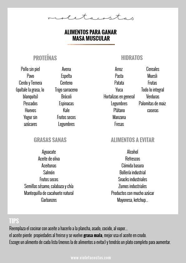 Lista de comidas para aumentar masa muscular