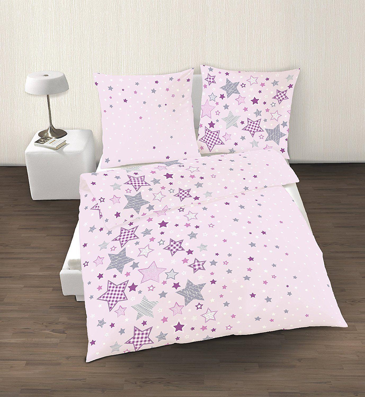 Fein Biber Bettwasche Sterne Stars In Rosa Lila Grau 2 Tlg