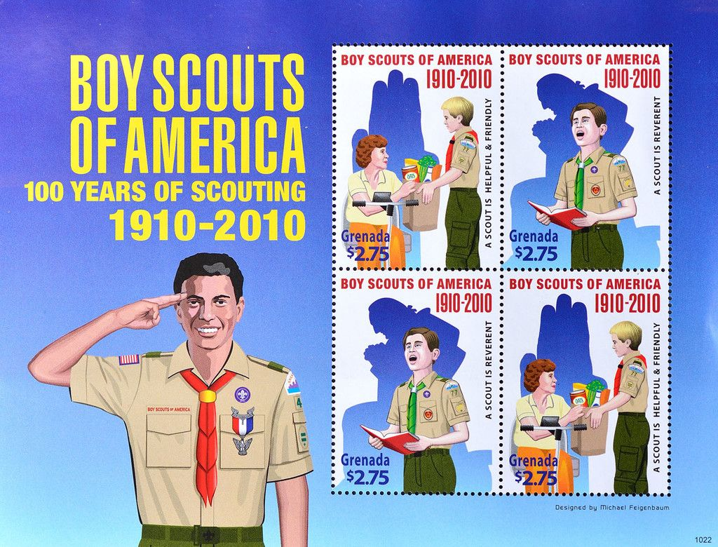 Stamp: Scouts Handed Shopping Bag and Scout Recites from Book (Grenada) (The 100th Anniversary of Scouting) Mi:GD 6289-6290KB