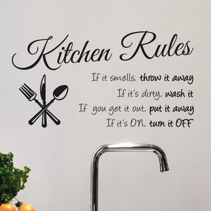 Kitchen Rules Wall Decal Wall Quotes Kitchen Wall Decals Wall