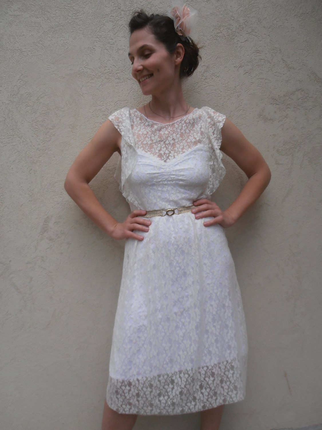 White lace fairy wedding dress via etsy cozy winter
