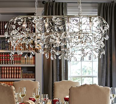 bella crystal ball rectangular chandelier, pewter finish