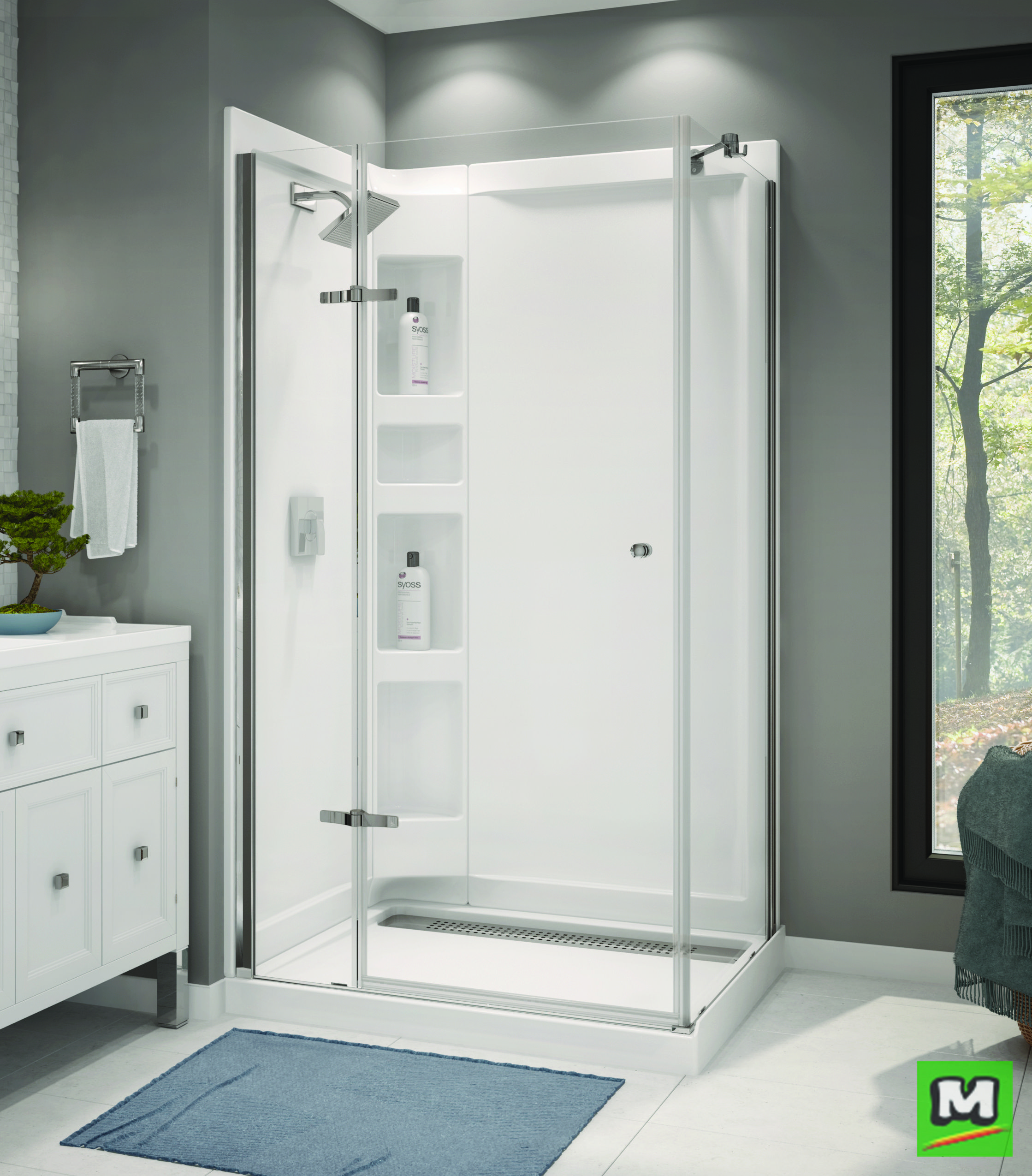 Create An Elegant Bathing Space With A Maax Athena 42 X 34 Corner Door Shower Kit This Sleek Shower Con Corner Shower Kits Shower Stall Shower Renovation