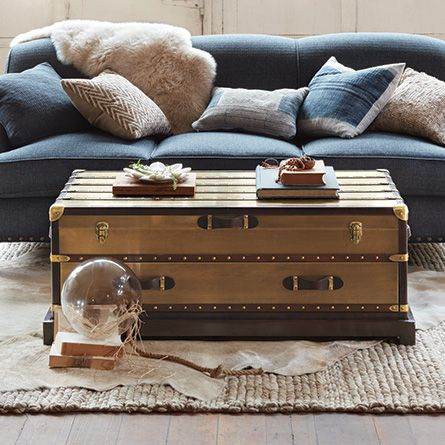 Inspired By An Antique Steamer Trunk Our Eclectic Martin Antique Brass Trunk Coffee Table Is Artisan Crafted Fr Coffee Table Trunk Metal Trunks Trending Decor