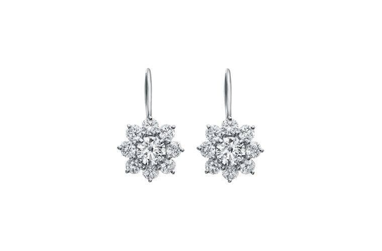 Sunflower By Harry Winston Diamond Earrings On Platinum Wire
