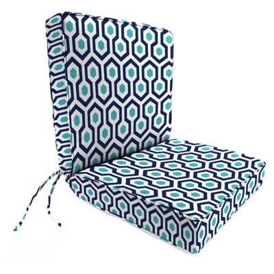 Print 44 Inch Boxed Edge Dining Chair Cushion Outdoor Cushions