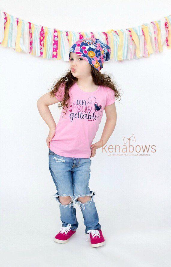 Fourth Birthday Shirt, Girl Birthday Shirt, 4 years old, Un-FOUR-Getable, Emoji Slouch Hat, Toddler