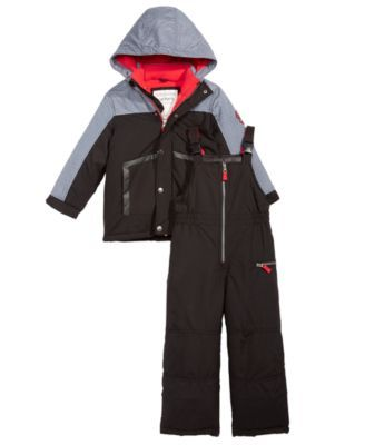 344f80c13 Carter's Little Boys 2-Pc. Colorblocked Hooded Jacket & Snow Bib - Black 5/6