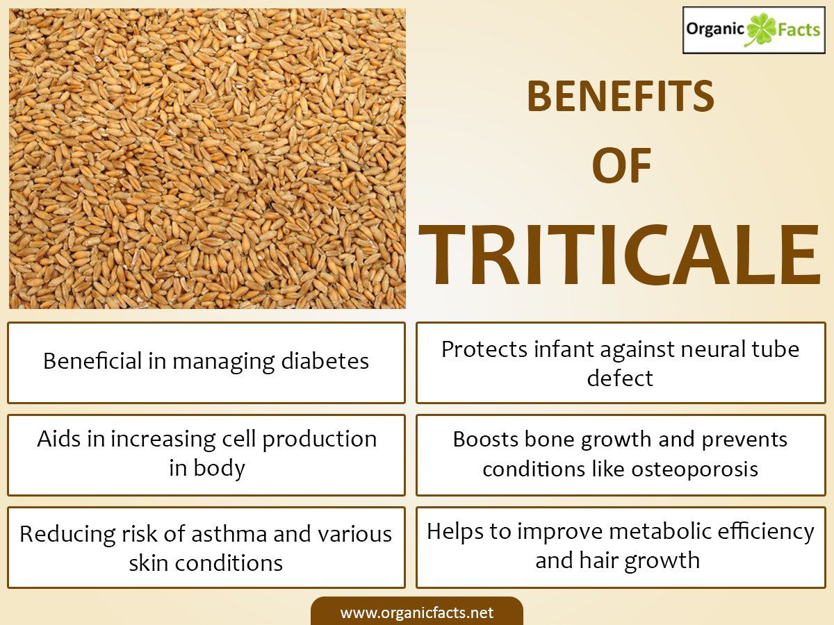 Some of the health benefits of triticale include its ability to improve digestive efficiency, boost heart health, increase healing and metabolic rate, improve energy levels, protect infants in the womb, prevents and manages diabetes, increase circulation, protect against asthma, reduce various skin conditions, and contribute to strong bones.