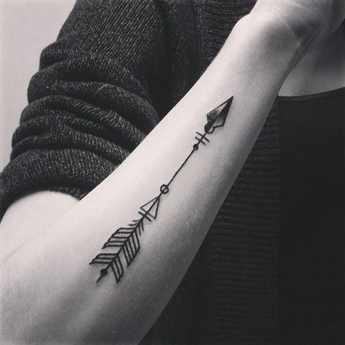 geometric arrow tattoo - An arrow can only be shot by pulling it backward. So when life is dragging you back with difficulties, it means that its going to launch you into something great. So just focus, and keep aiming.