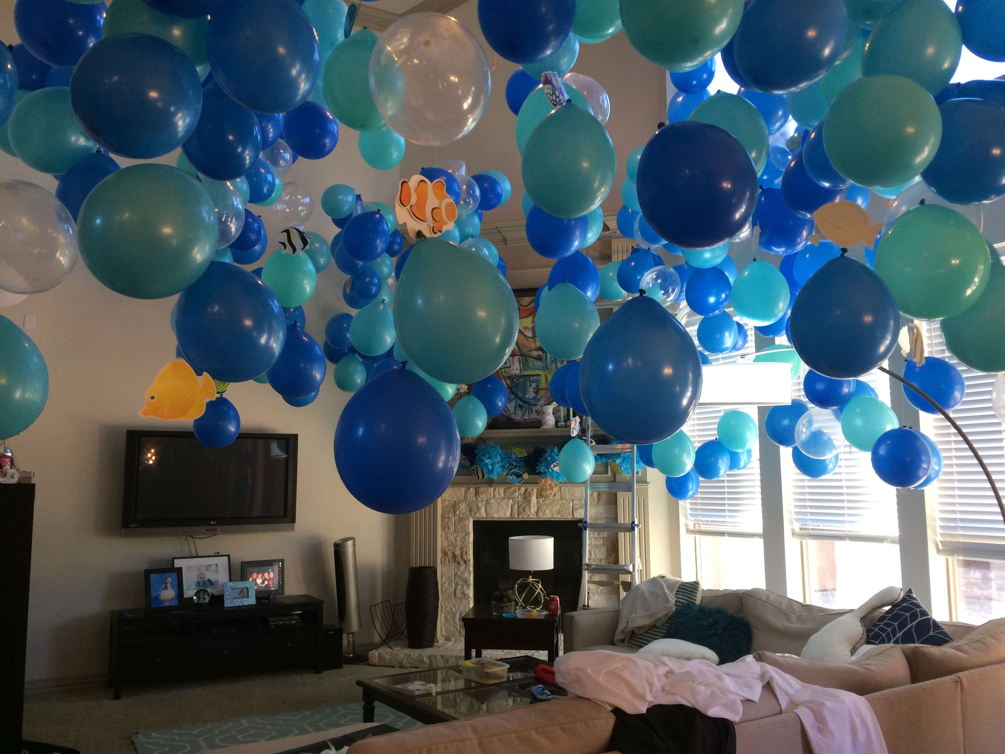 Ocean Party Decorations Balloons Hanging From The Ceiling Party