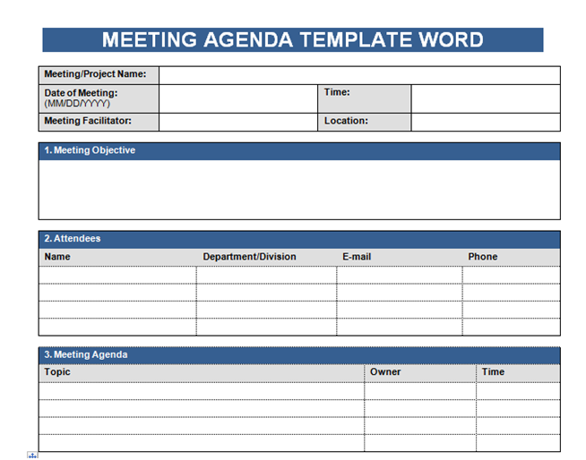 Get Free Meeting Agenda Template In Word – Microsoft Excel Templates ...