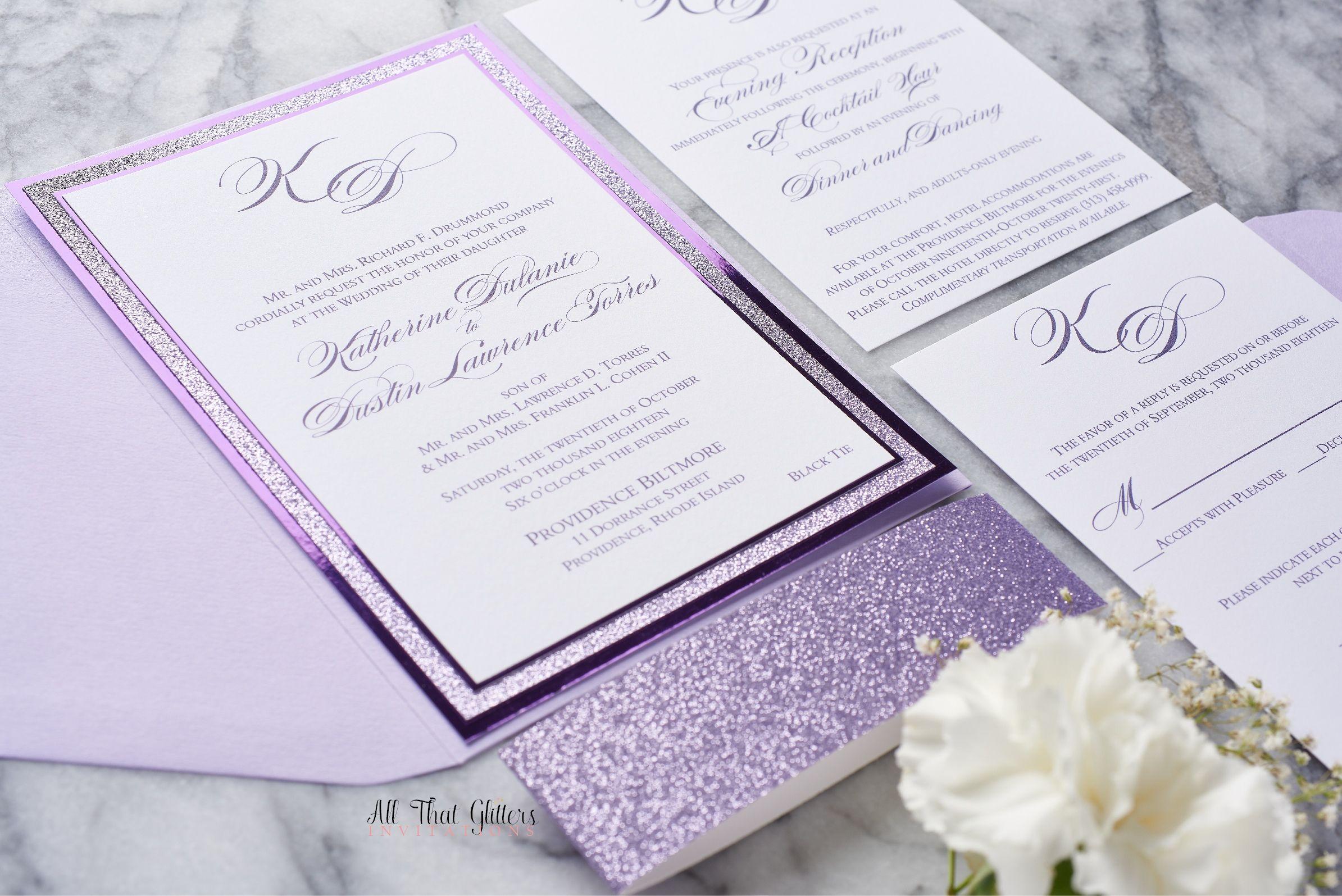 The Alicia Suite, A Glam Glitter Wedding Invitation by   Purple ...