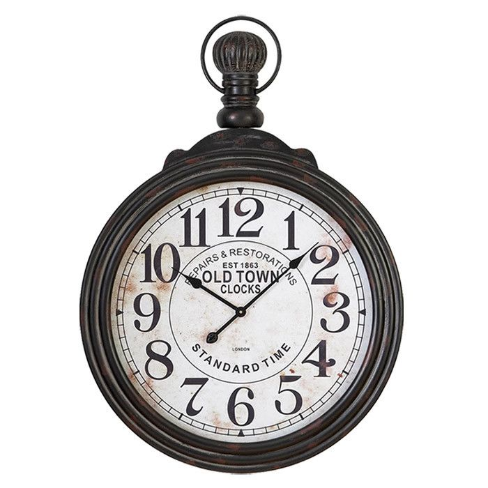 Pocket Watch Inspired Wall Clock With A Weathered White Face And Black Wood  Frame. Product: Wall Clock Construction M.