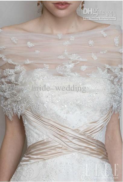 2018 White Tulle Bridal Cloak Wraps Bolero Shawl Shrug Beaded Middle Length Sheer Lace Up Back From Bride Wedding 41 21 Dhgate Com
