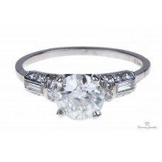 Estate Deco Revival Platinum Diamond Engagement Ring