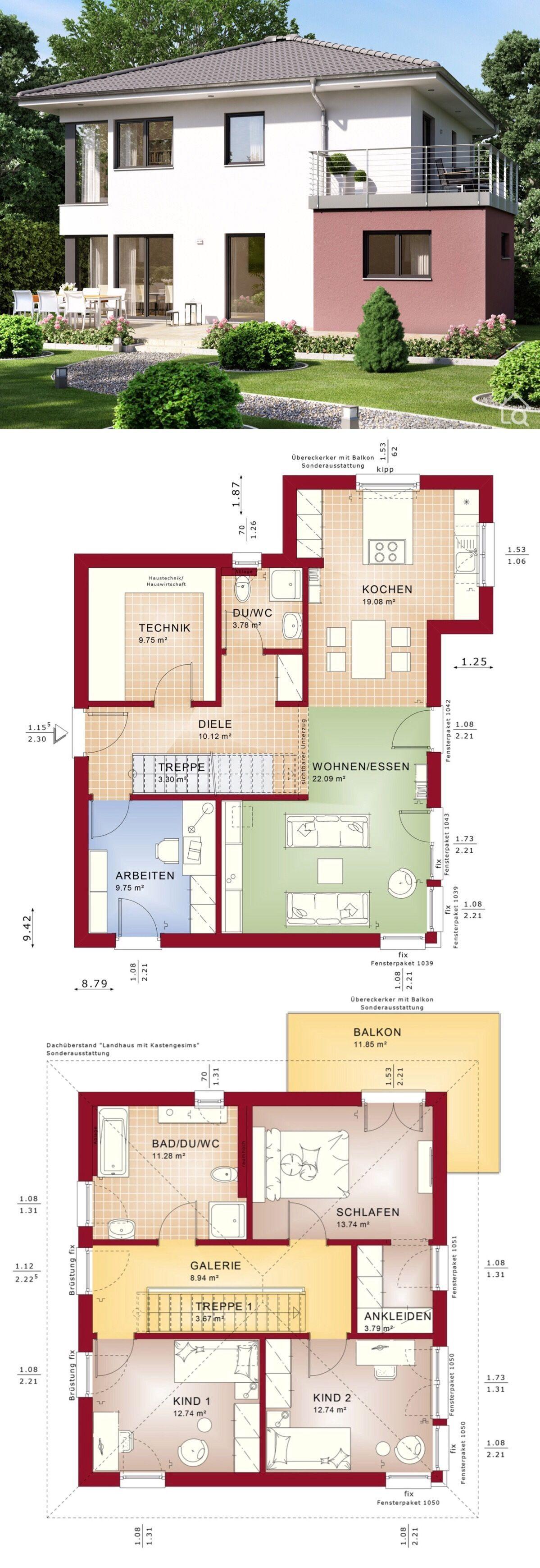 Stadtvilla modern Einfamilienhaus Neubau mit Walmdach
