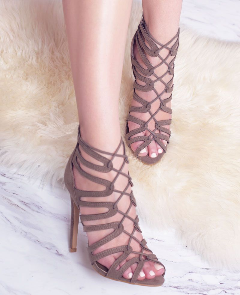 Lola Shoetique | Fall | Strappy Heels | Lace-Ups | Taupe | Fashion