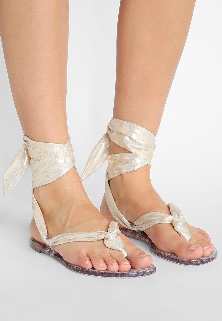 CasadeiBEACH MEKONG - T-bar sandals - ice/golden oDQJ9Z