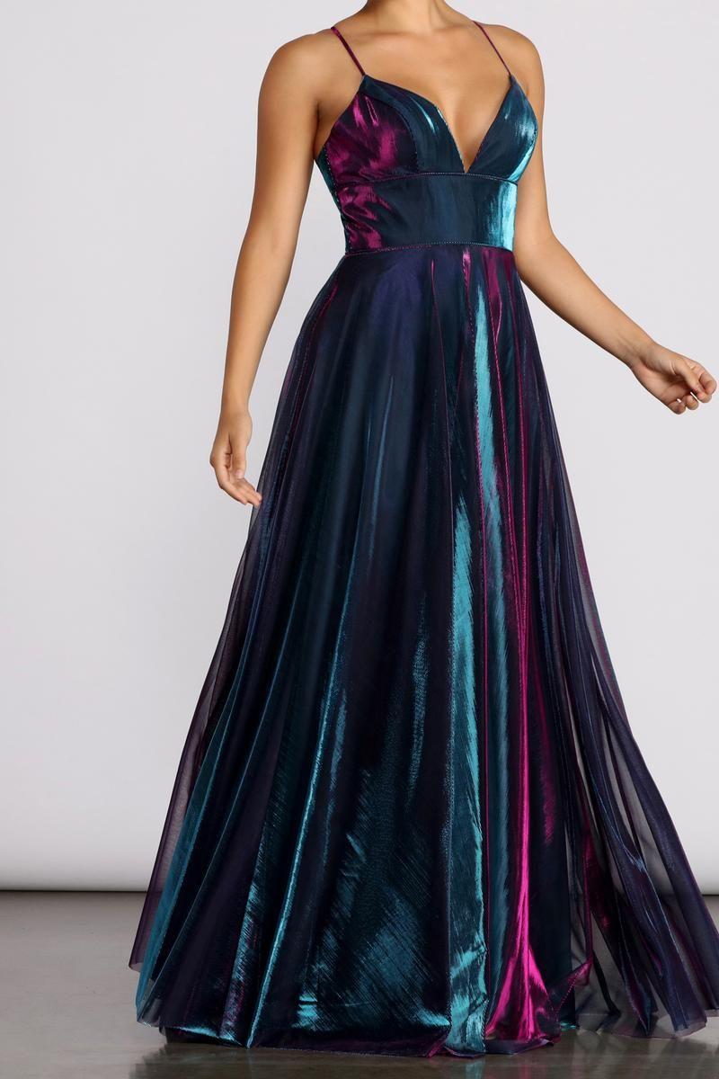 Vanda Formal Iridescent Metallic Dress In 2021 Masquerade Dresses Metallic Dress Dresses [ 1200 x 800 Pixel ]