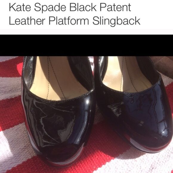 Authentic preowned Kate Spade patent leather heels Pre loved and worn Black patent leather platform heels- great condition! Great for styling up any work outfit:) Wear to the sole, some small scratches back of heel see pics -I can upload shots of heels as well or other aspects kate spade Shoes Heels