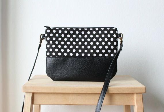 Photo of Black and white leather polka dot bag,Small bag,Crossbody bag,Fashion bag,