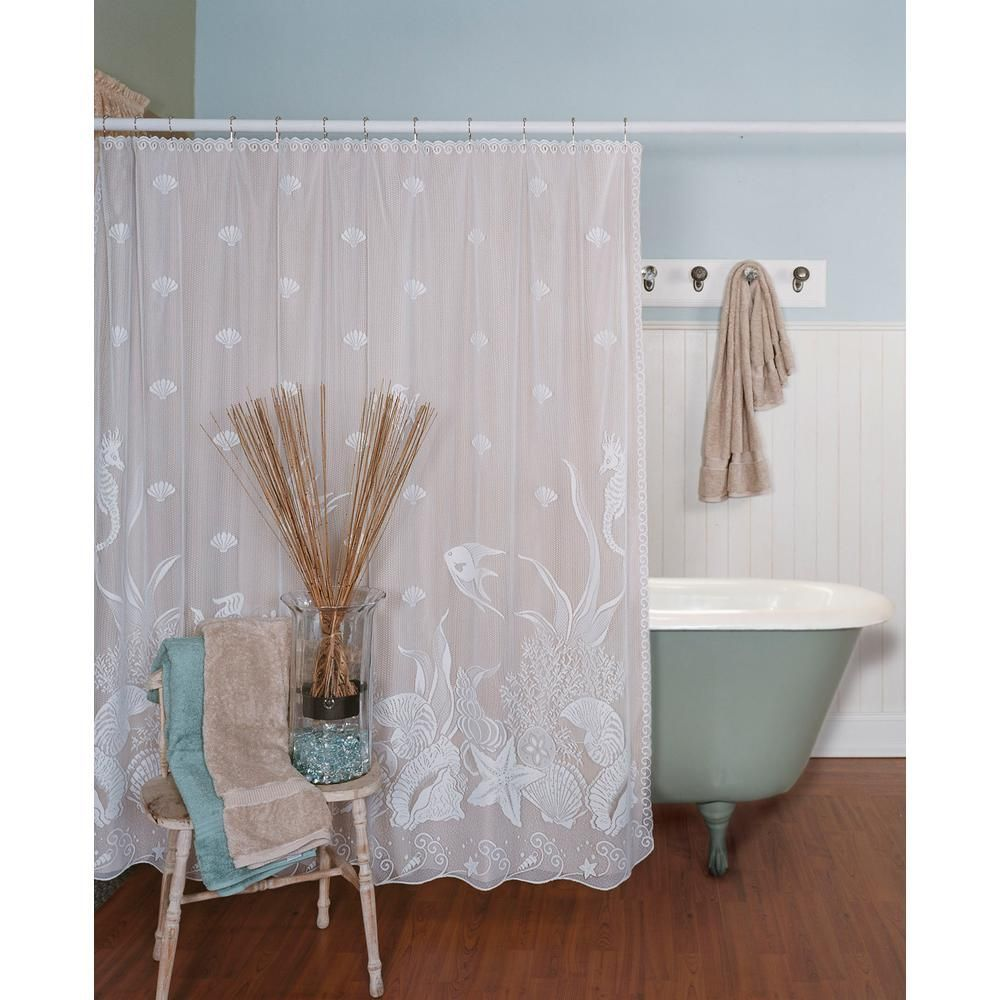 Heritage Lace Seascape 72 In W X 72 In L White Lace Shower