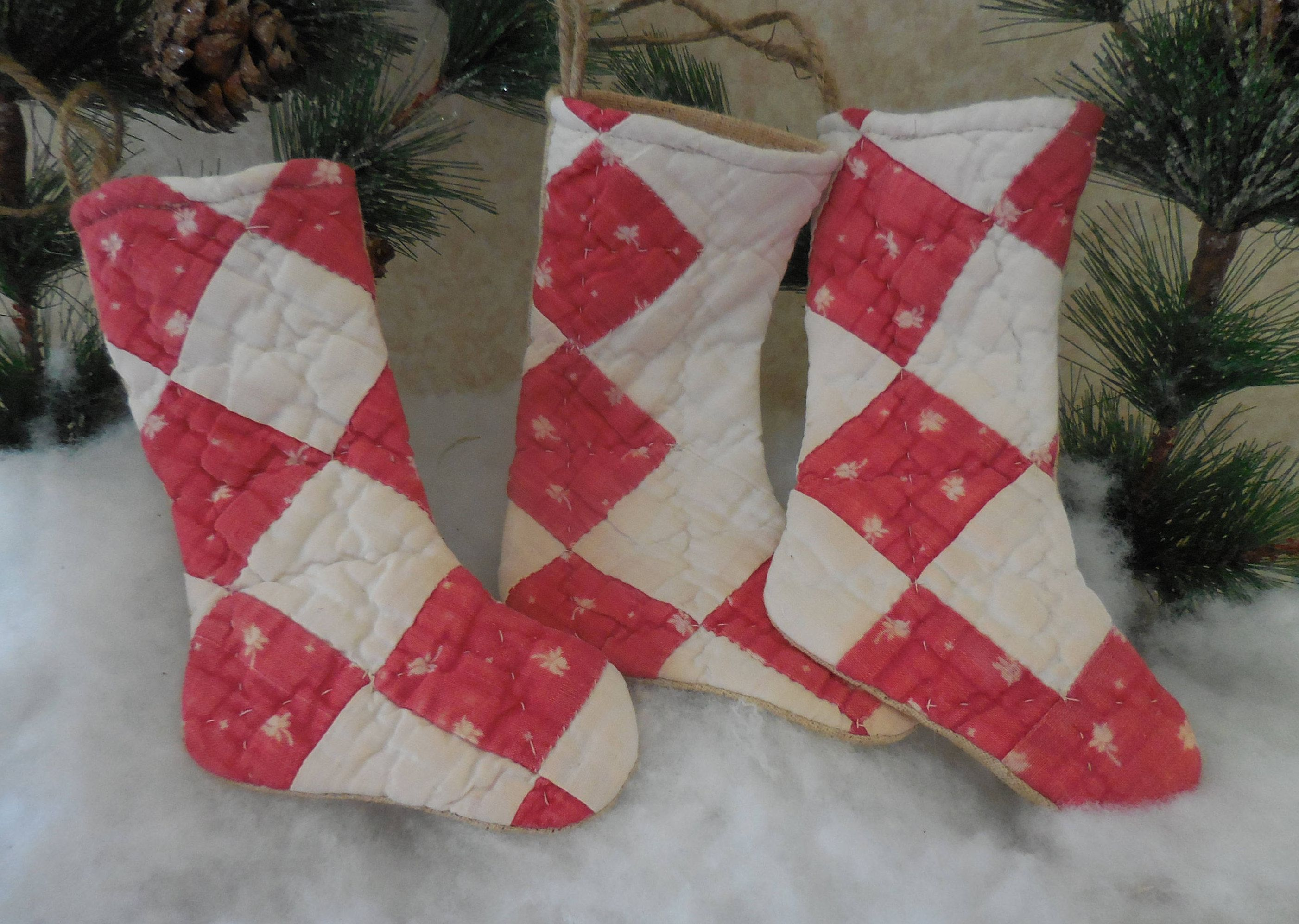 Handmade Vintage Quilted Stocking Ornaments Bowl Fillers Christmas Gift by #auntiemeowsprims on Etsy