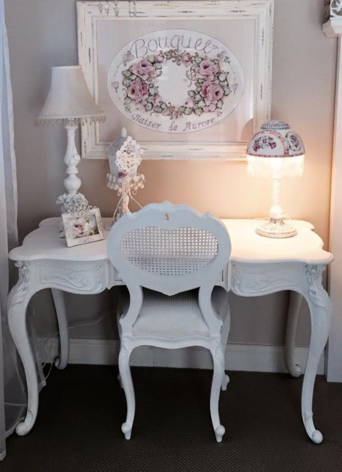 Photo of SHABBY CHIC FURNITURE MAKEOVER. Like this idea for my desk. Need to find another