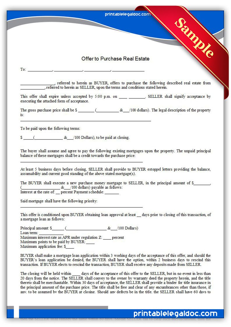 Free Printable Offer To Purchase Real Estate Legal Forms