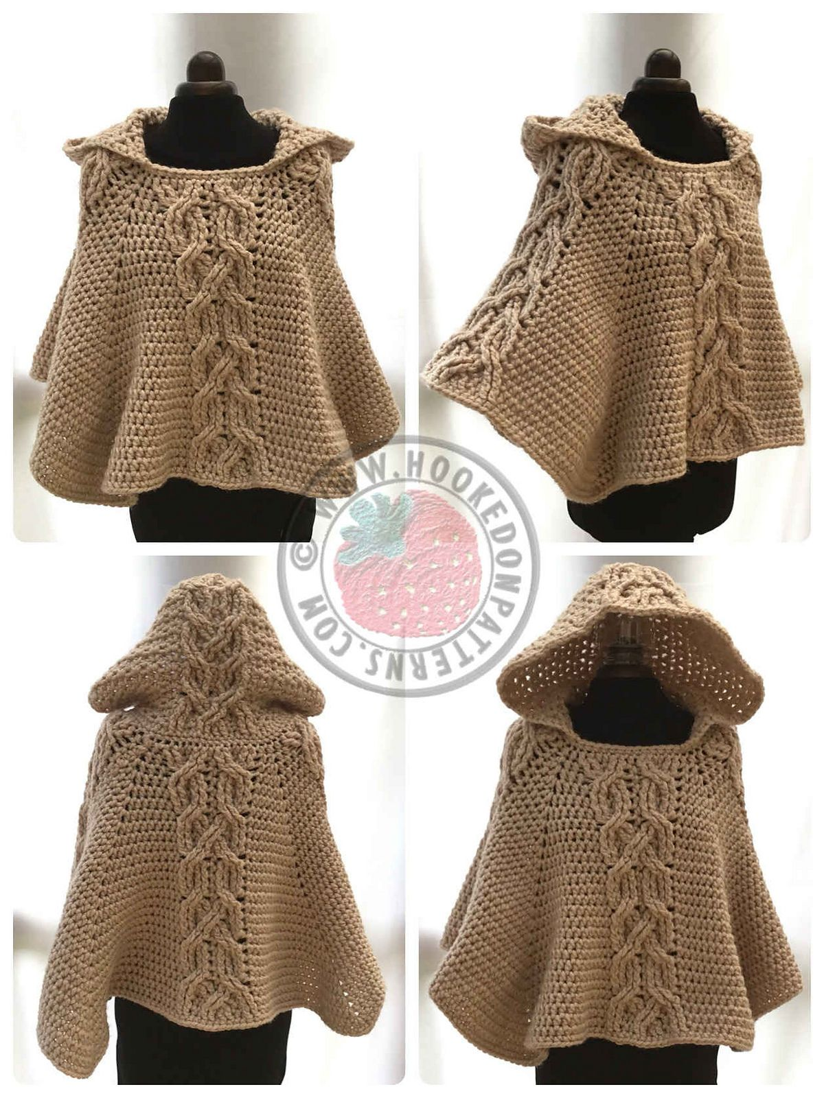 Milena Twist Cable Hooded Poncho pattern by Ling Ryan | Hooded ...