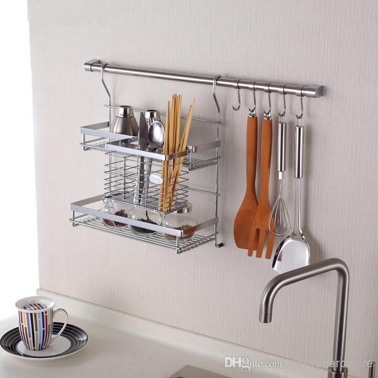 Elegant IKEA Style Kitchen Shelf Storage Rack Including Double Flavoring Rack  Chopstick Holder,60cm Hanging Rod