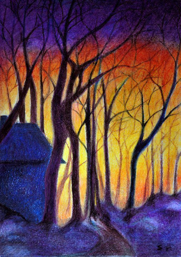 SALE Evening Landscape - Original colored pencil drawing 8 ...