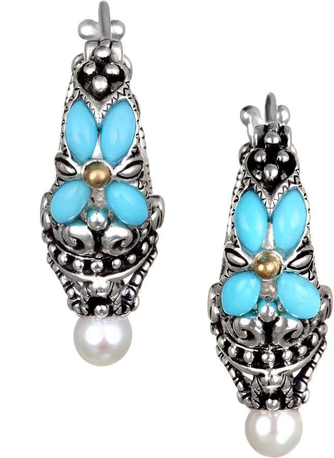 5bb95383aeab8 Barbara Bixby Sterling & 18K Turquoise Hoop Earrings in 2019 ...