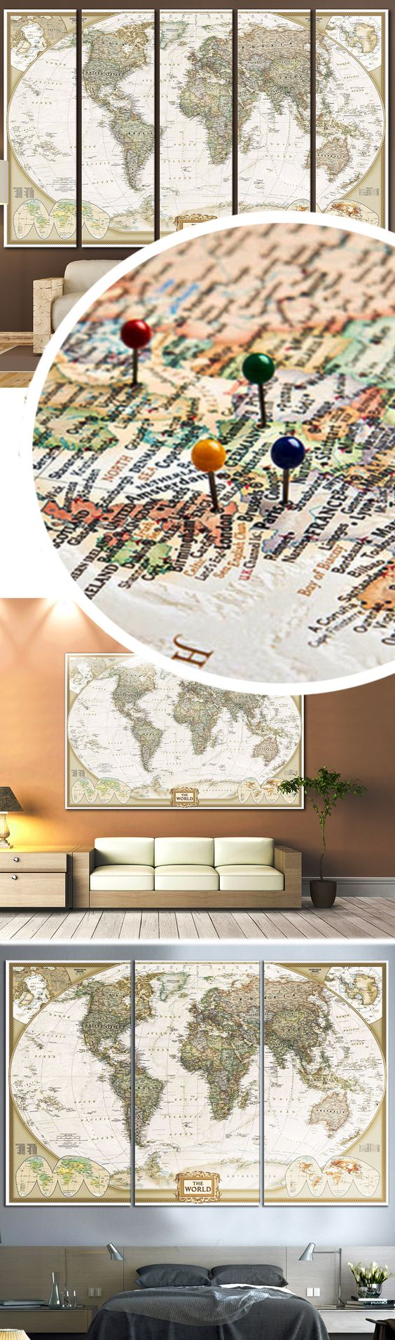 Push pin world map 866 canvas print zellart canvas arts map creative world map canvas prints wall art for large home or office wall decoration sale gumiabroncs Gallery