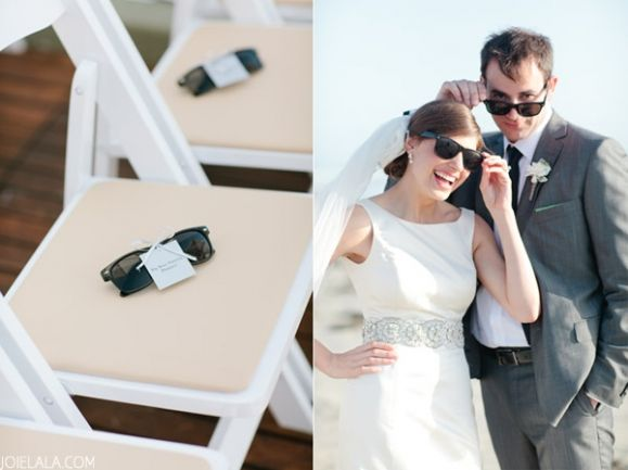 Sun glasses for your wedding guests. JOIELALA, Megan and Chad