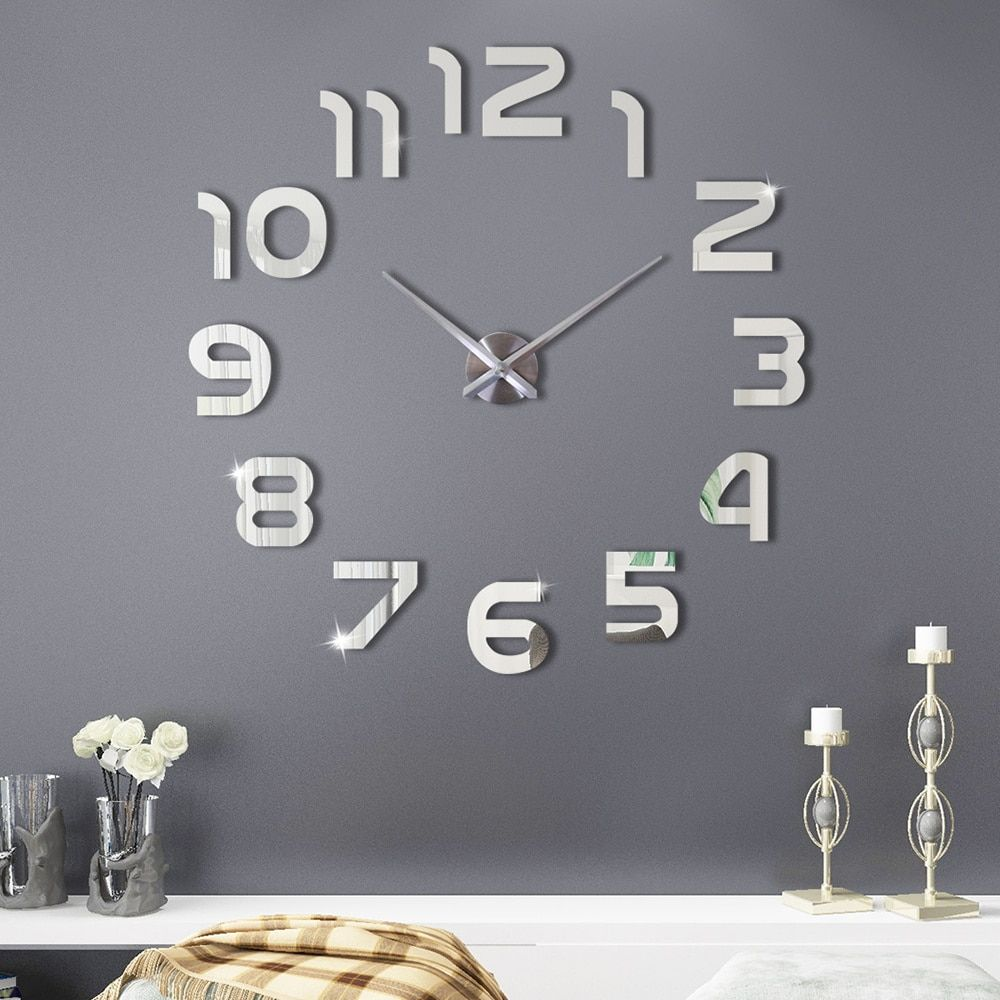 Large Wall Clock Modern Design 3d Wall Sticker Clock Watch Silent Home Decor Living Room Acrylic Mirror Silver Wall Clocks Silver Wall Clock Large Wall Clock Modern Diy Clock Wall